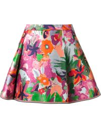 Thom Browne Jungle Floral Print Pleated Skirt - Lyst