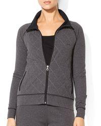 Ralph Lauren Lauren Quilt Front Zip Jacket - Lyst