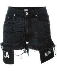 Hood By Air - Distressed Denim Shorts - Lyst