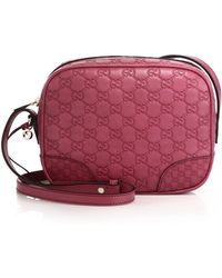 Gucci Bree Ssima Mini Leather Disco Bag pink - Lyst