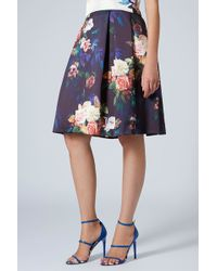 Topshop Blur Rose Midi Skirt Navy Blue - Lyst