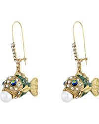 Betsey Johnson Into The Blue Fish Pearl Drop Earrings multicolor - Lyst