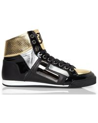 John Galliano Black Silver  Gold High-top Sneakers - Lyst