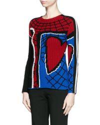 Valentino | 'super-h' Spiderman Intarsia Wool Sweater | Lyst