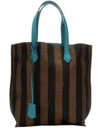Fendi Tobacco Striped Canvas Contrast Top Handle Tote Bag - Lyst
