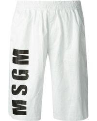 MSGM Logo Print Shorts - Lyst
