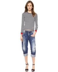 DSquared2 Lisa Stripe Top - Blackwhitered - Lyst
