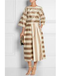 Tibi Escalante Embroidered Striped Silk Top - Lyst