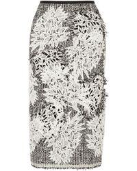 Erdem Safia Tweed And Guipure Lace Midi Skirt - Lyst