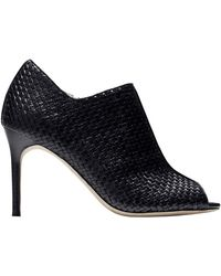 Cole Haan Annabel Weave Embossed Leather Peep Toe Booties - Lyst