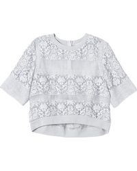Rebecca Taylor Short Sleeve Patch Lace Top - Lyst