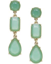 Kate Spade New York Goldtone Green Epoxy Stone Linear Earrings - Lyst