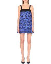 Emanuel Ungaro Zebra-Print Flared-Hem Crepe Dress - Lyst