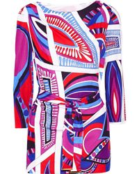 Emilio Pucci Printed Jersey Top - Lyst