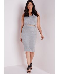 Missguided Plus Size Faux Suede Midi Skirt Grey - Lyst
