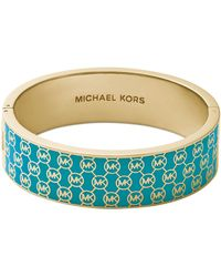 Michael Kors Monogram Hinge Bangle Turquoisegolden - Lyst