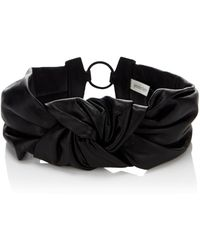 Jennifer Behr Black Leather Knotted Headband - Lyst
