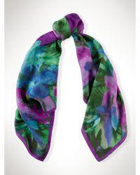 Ralph Lauren Silk Watercolor Floral Scarf - Lyst