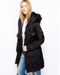 Bellfield - Longline Padded Coat with Pom Poms - Lyst