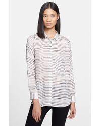 Haute Hippie Women'S Stripe Silk Blouse - Lyst