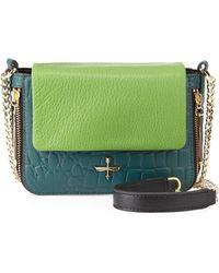 Pour La Victoire Alsace Crocembossed Leather Mini Crossbody Bag - Lyst
