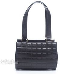 Chanel Preowned Black Lambskin Small Chocolate Bar Barrel Bag - Lyst