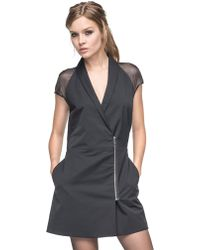Andrew Marc Candice Chiffon Cap Sleeve Dress - Lyst