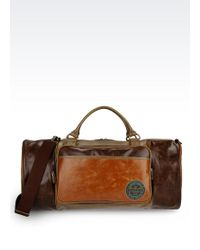 Armani Jeans Holdall In Faux Leather With Logo - Lyst