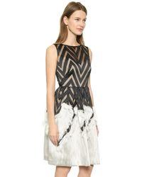 Lela Rose Fringed Skirt Dress - Black - Lyst
