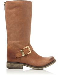 Steve Madden Fyzzle Buckle Trim Leather Calf Boots - Lyst