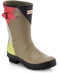 Hunter Dazzle Geometric-Paneled Original Short Rain Boots beige - Lyst