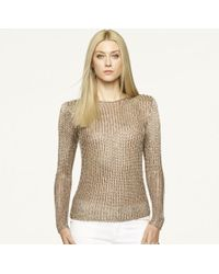 Ralph Lauren Black Label Gold Metallic Pullover - Lyst