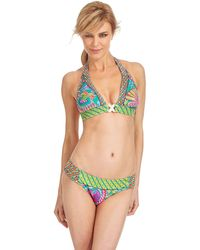 Trina Turk Festival Folkloric Buckle Front Swim Halter Top - Lyst