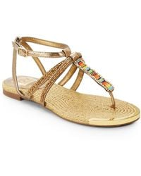 DV by Dolce Vita Dalten Embellished Faux Leather Flat Sandals - Lyst