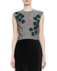 Maiyet Hand Embroidered Sleeveless Crop Top - Lyst