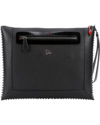 Christian Louboutin Black Leather 'Peter' Spiked Pouch - Lyst
