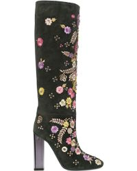 Emilio Pucci 110Mm Embroidered Suede Boots - Lyst