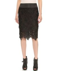 Vera Wang Collection - Rose Guipure Pencil Skirt Black - Lyst