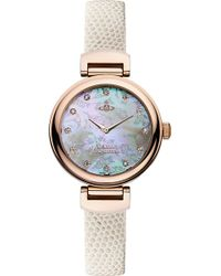 Vivienne Westwood Vv128Rswh Leather And Mother-Of-Pearl Hampton Watch - For Women - Lyst