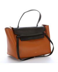 Celine Light Copper and Black Leather Belt Satchel - Lyst