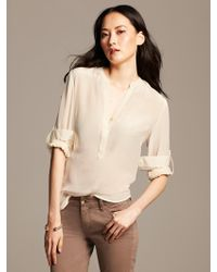 Banana Republic Silk Popover Blouse Sweet Cream - Lyst