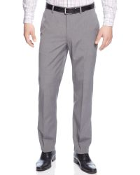 Calvin Klein Charcoal Check Flat Front Dress Pant Slim Fit - Lyst