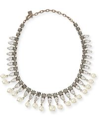 Dannijo Alta Pearly Crystal Necklace - Lyst