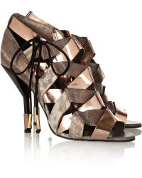 Pierre Hardy Metallic Elaphe and Leather Sandals - Lyst