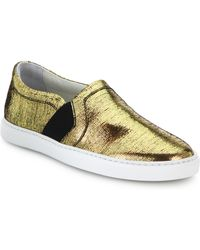 Lanvin Laminated Slip-On Sneakers gold - Lyst