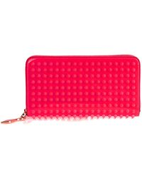 Christian Louboutin Panettone Patent-Leather And Spike Wallet pink - Lyst