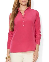 Ralph Lauren Lauren Silk Button Blouse - Lyst