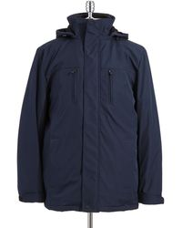 Calvin Klein Blue Hooded Parka - Lyst