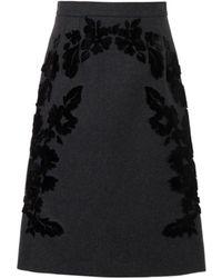 Dolce & Gabbana Flocked Wool-Blend A-Line Skirt - Lyst