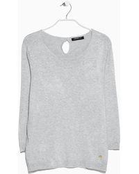 Mango Gray Essential Sweater - Lyst